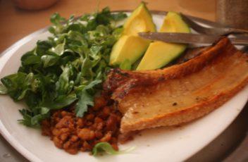 pork belly,cvarci,matilovac i pesun s maslinovim uljem,avokado